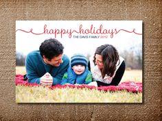 Photo Holiday Card, Modern Christmas Card, Happy Holidays. $15.00, via Etsy.