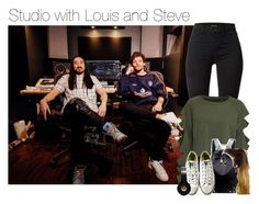 """""""At the studio with Louis and Steve"""" by werehazza ❤ liked on Polyvore featuring J Brand, WithChic, Chicnova Fashion and Converse"""