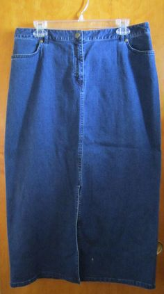 Statements Petite Womens Size 14P Long Modest Denim Jean Skirt Front Slit  #StatementsPetite #StraightPencil