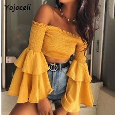 Yojoceli 2018 nova primavera fora do ombro babados shirred tops camisa blusas camisa das mulheres do sexo feminino casual streetwear cropped tops camisa
