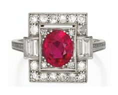 Platinum, Ruby and Diamond Ring circa 1920. sothebys.com