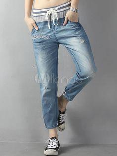 Casual Blue Cotton Women's Cropped Jeans - Milanoo.com