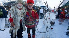 Jokkmokk Sami Winter Market, reindeer procession leader and Vildmarkshasse who has sold his wonderful sausage there for over 30 years.