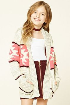 A marled knit cardigan featuring an allover geo pattern, an open-front, and two patch pockets. Adorable tween fashion, would be a cute outfit on a girl or 10 year old too. Must have for spring or summer! Forever 21 Outfits, Forever 21 Girls, Shop Forever, Preteen Fashion, Girls Fashion Clothes, Kids Fashion, Fashion Outfits, Fashion 101, Trendy Fashion