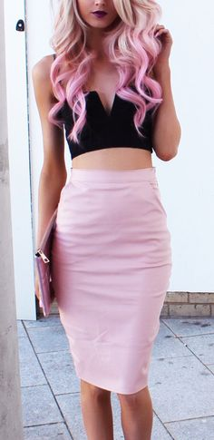 Cropped top & pencil skirt