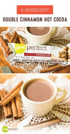 What do you get when you pair this recipe for a 6-Ingredient Double Cinnamon Hot Cocoa with a tasty ZonePerfect® Cinnamon Roll Nutrition Bar? The perfect sweet combination to treat yourself to this new year! Whether it's during a mid-day slump or a nightly cozy dessert, this sweet snack idea is sure to keep you—and your balanced living goals—on track this season.