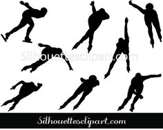 Ice Speed Skating Silhouette Vector Download