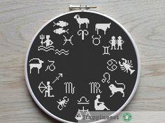 cross stitch pattern zodiac, zodiac sampler, constellation,  PDF,  ** instant download**