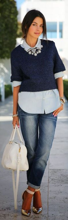 Spring Fashion 2014. Light knits with chambray & faded denim. ::M::