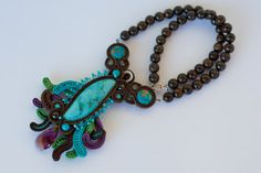 Big necklace from bronzite beads with soutache от DalikaHandMade