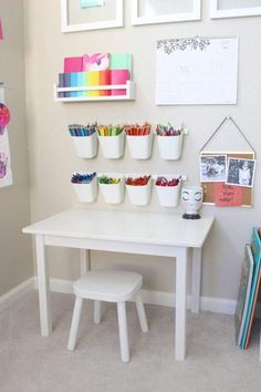playroom art station is giving us all the toddler art goals! This playroom art station is giving us all the toddler art goals! - This playroom art station is giving us all the toddler art goals! Baby Playroom, Playroom Art, Playroom Design, Kids Room Design, Children Playroom, Playroom Table, Small Playroom, Baby Room, Colorful Playroom