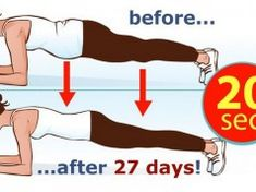 In today's article we will present you a fat-burning exercise recommended by many fitness experts and most importantly it can replace 1000 sit-ups. This exercise is called plank and it is the best sta Fitness Workouts, Easy Workouts, Yoga Fitness, Health Fitness, Fitness Goals, Intensives Training, Melt Belly Fat, Plank Challenge, Vicks Vaporub