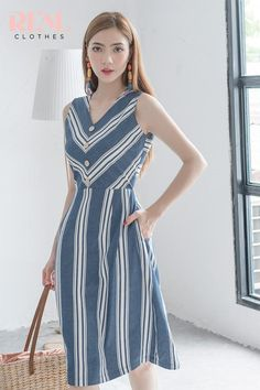 Đầm linen sọc xanh đậm | realclothes.me – Real Clothes Casual Dresses For Women, Clothes For Women, Punjabi Dress, Office Outfits, Dress Codes, Indian Wear, Cotton Dresses, Frocks, Striped Dress