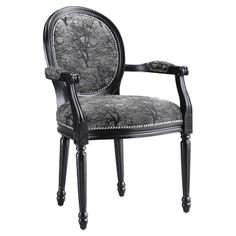 Love, love, love this combination of charcoal print fabric and black framed chair with nailhead.  Get in my room...Now!