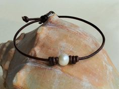 Simple Pearl Leather Anklet Wholesale Boutique by JewelryByYevga