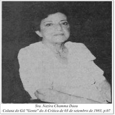 """Sra. Nazira Chamma Daou. Coluna do Gil """"Gente"""" do A Crítica de 03 de setembro de 1983."""