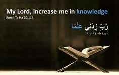 O my Lord! increase me in knowledge