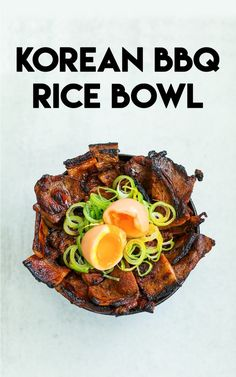 Today's recipe is perfect for your weeknight dinner, Korean BBQ Rice Bowl! This is the BEST Korean BBQ rice bowl you will ever have! I used pork shoulder, because it's easy and inexpensive but you could do with chicken, beef, mushrooms or tofu! Korean Bbq Recipe, Best Korean Bbq, Korean Grill, Korean Food, Korean Dishes, Grilling Recipes, Pork Recipes, Asian Recipes, Cooking Recipes