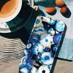 """Santorini"" ⚓️ Super beautiful Bright blue stone printed series phone case."
