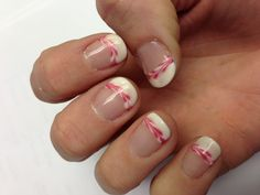 Valentine's soak off gel nail polish SOG, TruGel: Marshmallow with Linen over the top and IBD: Camilla Petals with the Marshmallow on the tips.