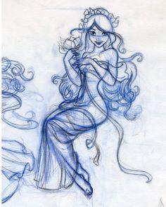 "1,425 Likes, 23 Comments - Dorota Kotarba-Mendez (@dorotaparasol) on Instagram: ""Very very old sketch of Giselle. #girl #disney #enchanted #sketch #drawing #disneyprincess"""