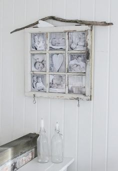 Mias Interiør / New Room Interior: Bilderamme Old Window Frames, Window Art, Old Window Projects, Diy Projects, Shabby Home, Creation Deco, Old Windows, Home And Deco, My New Room