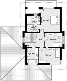 Projekt domu Kadyks 2 162,2 m2 - koszt budowy - EXTRADOM Bungalow, House Plans, Decor Ideas, How To Plan, Blueprints For Homes, Home Plans, Bungalows, House Design, House Floor Plans
