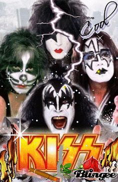 Kiss print : Kiss, the hard rock band from New York City, known for their amazing makeup and… Glam Rock, Rock Chic, Kiss Band, Kiss Rock Bands, Rock And Roll, Pop Rock, Great Bands, Cool Bands, Heavy Metal