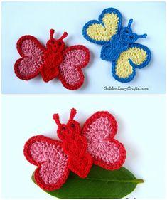 20 Crochet Butterfly Free Patterns:Attach butterfly applique onto fashion, make butterflies as Mobile nursery or chandelier, or crochet butterfly rugs. Crochet Wreath, Crochet Cord, Crochet Motifs, Crochet Crafts, Crochet Flowers, Crochet Stitches, Crochet Projects, Crochet Patterns, Cordon Crochet