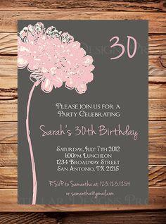30th Birthday Invite 40th 50th Birthday Adult by StellarDesignsPro, $21.00