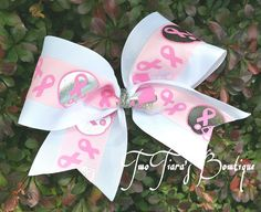 Tackle Breast Cancer Awareness Football Cheer Bow by Two Tiara's Bowtique on Etsy or Facebook group. Team discounts are always available.  Pink out, Football, cheer squads. Etsy listing at https://www.etsy.com/listing/165060326/tackle-breast-cancer-awareness-football
