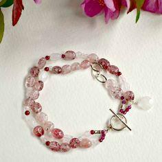 Handcrafted Bracelet with moonstone, garnet, pink quartz and sterling silver toggle
