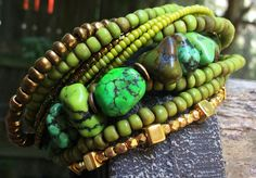 Bracelet | Green | Turquoise | Gold | Exotic | XO Gallery | XO Gallery $195
