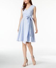 CALVIN KLEIN COTTON STRIPED WRAP DRESS, REGULAR & PETITE. #calvinklein #cloth #