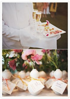singular flowers for place cards