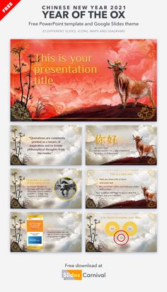 On February 12 the Chinese people will enter the year of the ox. Why not celebrate with this beautiful presentation template? It is beautifully illustrated to represent the year of the Ox. Use this theme as a greeting ecard for your company or to talk about Chinese traditions. Philosophical Thoughts, February 12, Chinese New Year, Ox, Presentation Templates, Quotations, People, Prints, Free