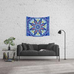 Purple Blue Abstract Flower Wall Tapestry by Nova'sDizz - Small: x Blue Tapestry, Mandala Tapestry, Tapestry Wall Hanging, Wing Wall, Prayer Wall, Triangle Wall, Bright Walls, Society 6 Tapestry, Bohemian Design