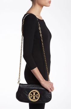 Tory Burch Logo Flap Clutch | Nordstrom in Black/Gold $350.00...dying for a black purse with a gold chain!