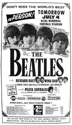 July 4, 1966 - The Beatles played two shows at Rizal Memorial Football Stadium, Manila, in the Philippines to over 80,000 fans. The Beatles failed to appear at a palace reception hosted by President Marcos' family, who were not informed that the Beatles had declined their invitation. The next day, as The Beatles make their way to the airport they were greeted by angry mobs, the Philippine government had retaliated by refusing them police protection. •• #thebeatles #beatles #thisdayinmusic…
