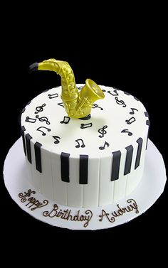 3D Saxophone Music Notes Cake Piano Cakes Themed Sweet