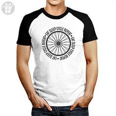 Idakoos - Eat sleep cycle repeat - Urbans - Raglan T-Shirt (*Amazon Partner-Link)