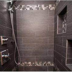 "Emser Tile Strands 12"" x 3"" Porcelain Bullnose Tile Trim in Twilight | Wayfair Lucerne, Bathroom Flooring, Kitchen Flooring, Basement Bathroom, Gray Shower Tile, Bathroom Shower Tiles, Stone Shower, Shower Walls, Small Bathroom"
