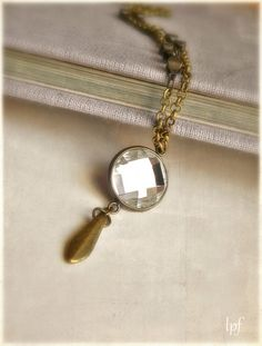 Pendulum Necklace The Crystal Lake antique brass by lePetitFoyer, $29.50