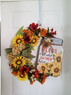 Your place to buy and sell all things handmade Fall Wreaths, Door Wreaths, Grapevine Wreath, Mason Jar Hanger, Mason Jars, Sunflower Wreaths, Wired Ribbon, Fall Flowers, How To Make Wreaths