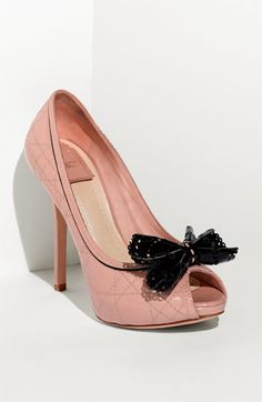 Dior Cannage Stitch Peep Toe Pump.