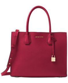 Michael Kors Mercer Pebble Leather Tote Handbags   Accessories - Macy s. Red  Michael Kors BagHandbags ... 02b41ae00e
