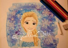 Elsa's Illustration made by me, check it out on my blog!  (by Giulia Osti) #illustration #elsa #frozen #watercolor