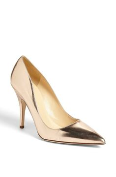 Gold and gorgeous! Thismetallic gold Kate Spade pump is on the wish list for spring.