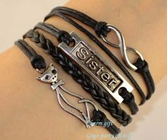 Sisters braceletinfinite braceletfox bracelet by Gogoparty on Etsy, $3.99