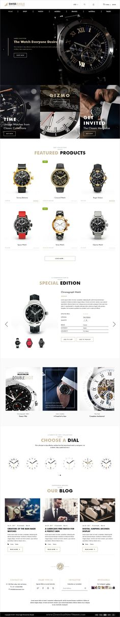 Swiss eagle is beautifully design responsive #Shopify theme for stunning #watch store #eCommerce websites download now➩  https://themeforest.net/item/swiss-eagle-watch-shopify-theme/19398823?ref=Datasata